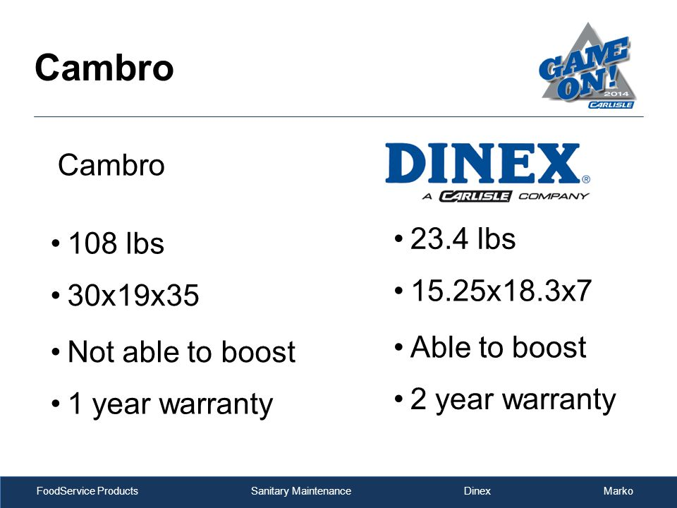 FoodService Products Sanitary Maintenance Dinex Marko Cambro 108 lbs 23.4 lbs 30x19x35 15.25x18.3x7 Not able to boost Able to boost 1 year warranty 2 year warranty Cambro