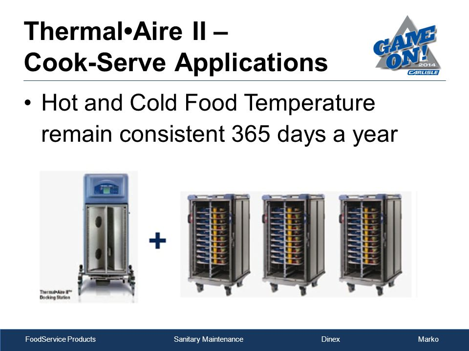 FoodService Products Sanitary Maintenance Dinex Marko Hot and Cold Food Temperature remain consistent 365 days a year ThermalAire II – Cook-Serve Applications