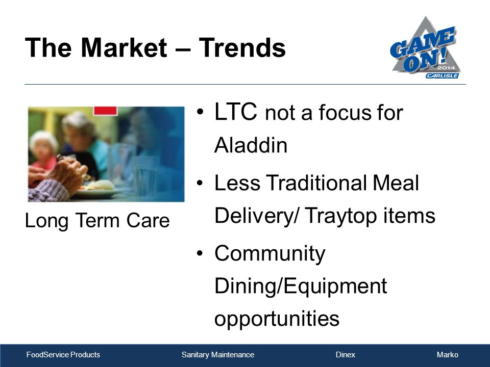 FoodService Products Sanitary Maintenance Dinex Marko The Market – Trends LTC not a focus for Aladdin Less Traditional Meal Delivery/ Traytop items Community Dining/Equipment opportunities Long Term Care