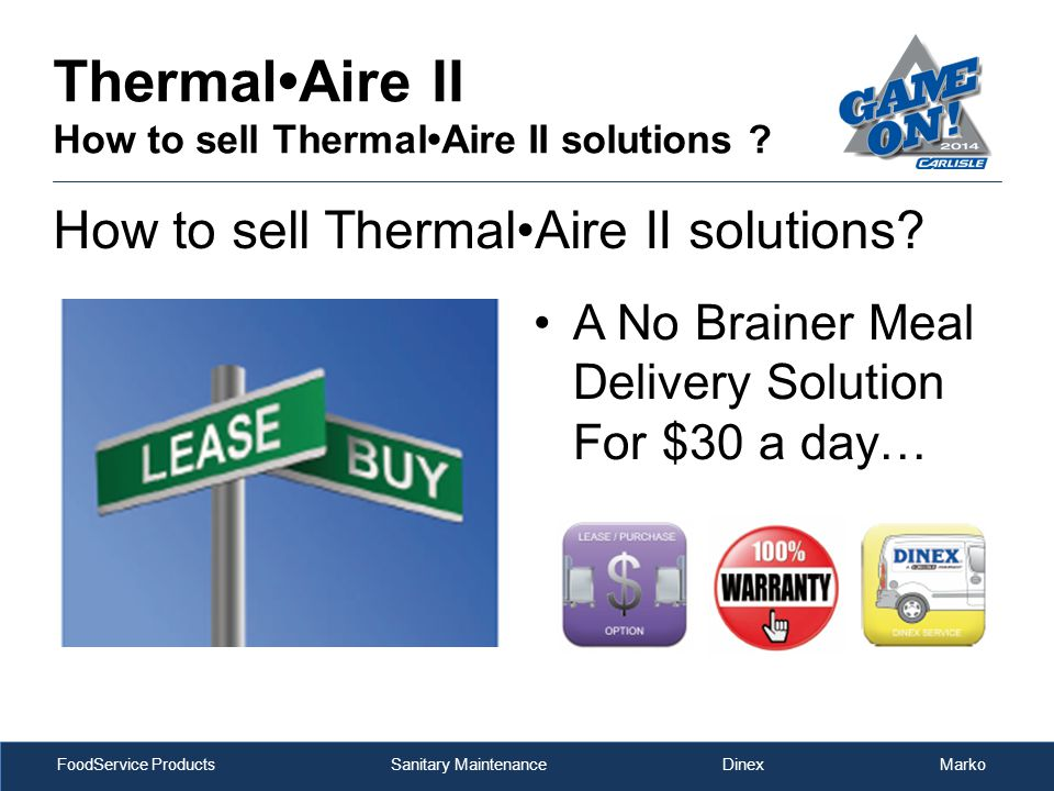 FoodService Products Sanitary Maintenance Dinex Marko ThermalAire II How to sell ThermalAire II solutions .