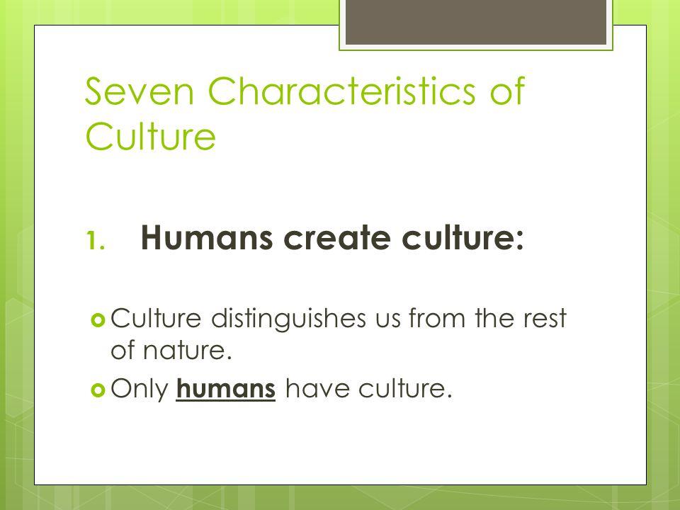 Seven Characteristics of Culture 2.