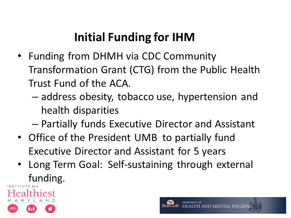 Initial Funding for IHM Funding from DHMH via CDC Community Transformation Grant (CTG) from the Public Health Trust Fund of the ACA. – address obesity