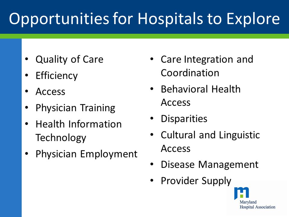 Opportunities for Hospitals to Explore Quality of Care Efficiency Access Physician Training Health Information Technology Physician Employment Care In