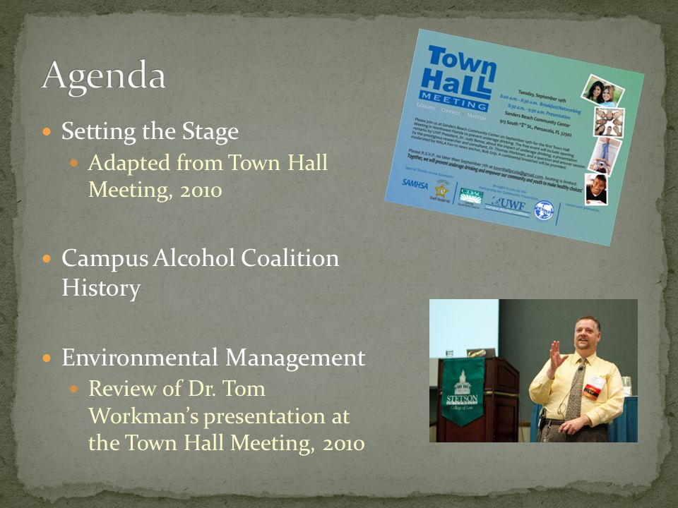 Setting the Stage Adapted from Town Hall Meeting, 2010 Campus Alcohol Coalition History Environmental Management Review of Dr.