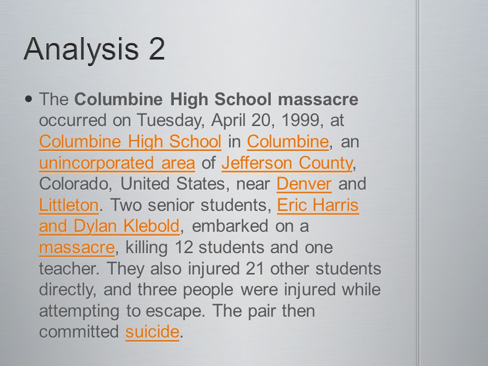 The link between bullying and school violence has attracted increasing attention since the 1999 rampage at Colorado s Columbine High School.