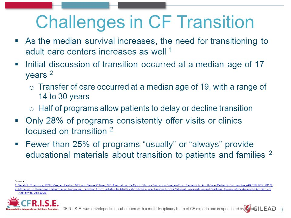 Challenges in CF Transition  As the median survival increases, the need for transitioning to adult care centers increases as well 1  Initial discuss