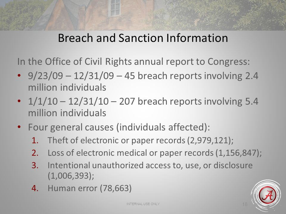 INTERNAL USE ONLY 18 Breach and Sanction Information In the Office of Civil Rights annual report to Congress: 9/23/09 – 12/31/09 – 45 breach reports involving 2.4 million individuals 1/1/10 – 12/31/10 – 207 breach reports involving 5.4 million individuals Four general causes (individuals affected): 1.Theft of electronic or paper records (2,979,121); 2.Loss of electronic medical or paper records (1,156,847); 3.Intentional unauthorized access to, use, or disclosure (1,006,393); 4.Human error (78,663)