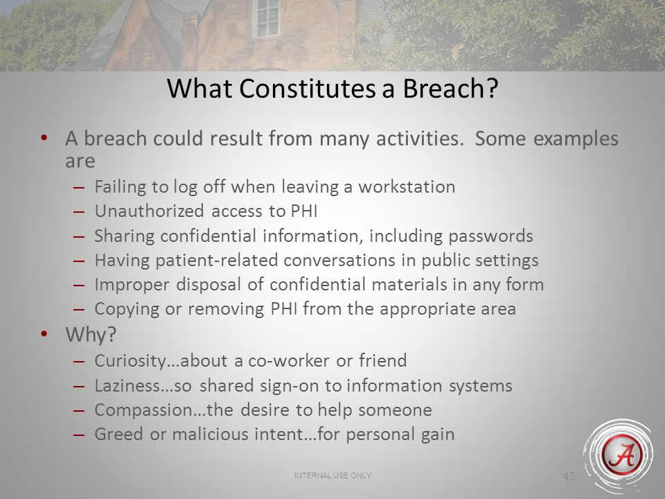 45 What Constitutes a Breach.A breach could result from many activities.