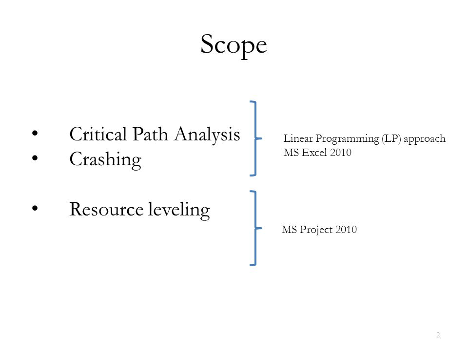Scope Linear Programming (LP) approach MS Excel 2010 MS Project 2010 Critical Path Analysis Crashing Resource leveling 2