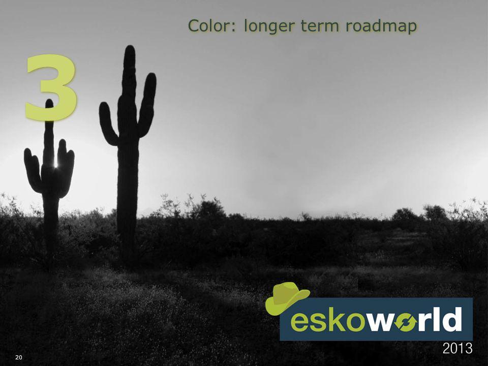 20 Color: longer term roadmap 3 3