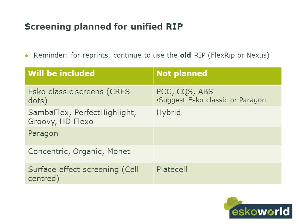 28 Screening planned for unified RIP Will be includedNot planned Esko classic screens (CRES dots) PCC, CQS, ABS Suggest Esko classic or Paragon SambaFlex, PerfectHighlight, Groovy, HD Flexo Hybrid Paragon Concentric, Organic, Monet Surface effect screening (Cell centred) Platecell ●Reminder: for reprints, continue to use the old RIP (FlexRip or Nexus)