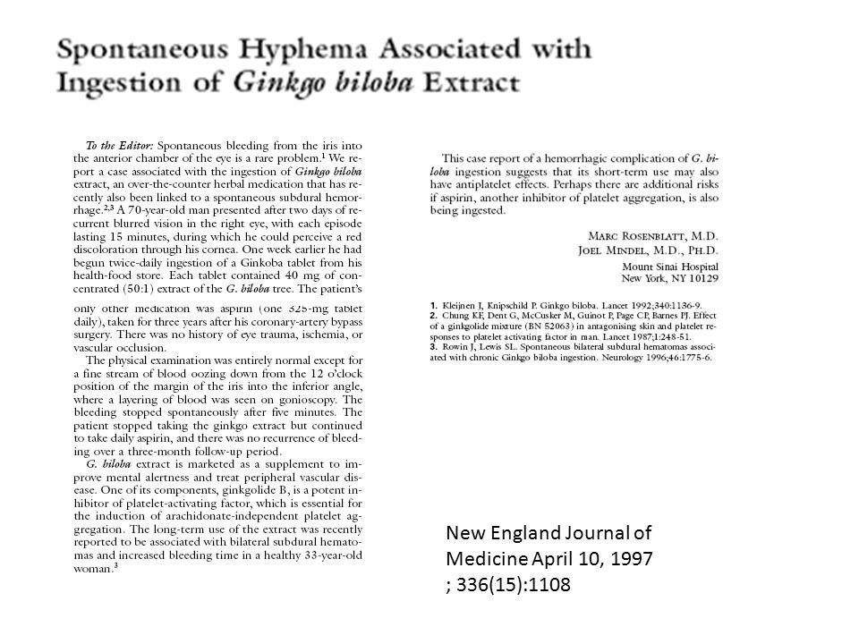 New England Journal of Medicine April 10, 1997 ; 336(15):1108