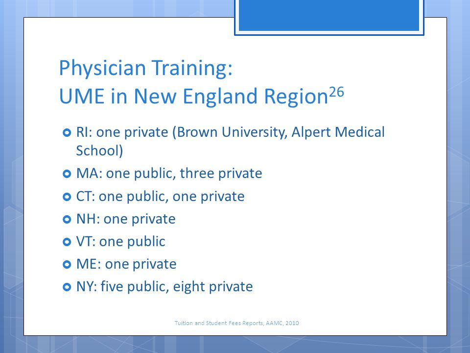 Physician Training: UME in New England Region 26  RI: one private (Brown University, Alpert Medical School)  MA: one public, three private  CT: one public, one private  NH: one private  VT: one public  ME: one private  NY: five public, eight private Tuition and Student Fees Reports, AAMC, 2010