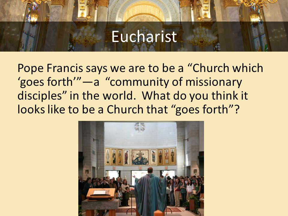Eucharist Pope Francis says we are to be a Church which 'goes forth' —a community of missionary disciples in the world.