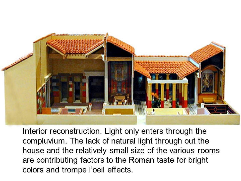 Interior reconstruction.Light only enters through the compluvium.
