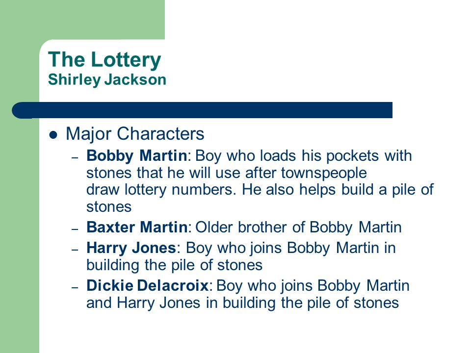 The Lottery Shirley Jackson Major Characters – Mr.