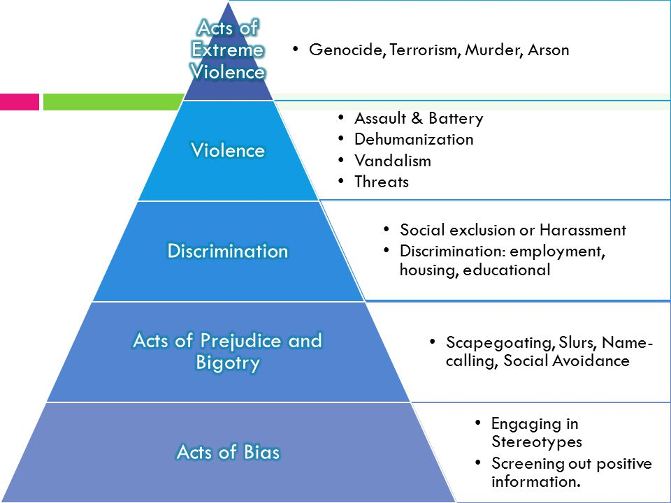 Genocide, Terrorism, Murder, Arson Assault & Battery Dehumanization Vandalism Threats Social exclusion or Harassment Discrimination: employment, housi