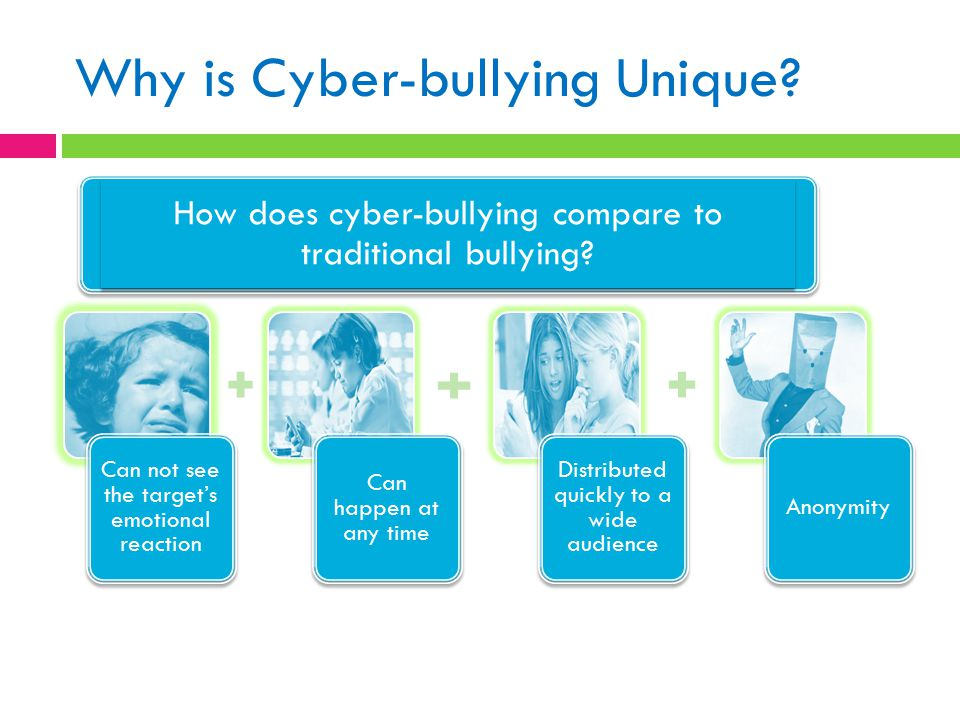 Why is Cyber-bullying Unique? Can not see the target's emotional reaction Can happen at any time Distributed quickly to a wide audience Anonymity How