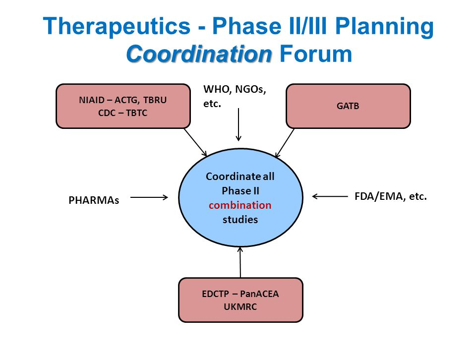 Coordination Therapeutics - Phase II/III Planning Coordination Forum Coordinate all Phase II combination studies NIAID – ACTG, TBRU CDC – TBTC GATB EDCTP – PanACEA UKMRC PHARMAs FDA/EMA, etc.