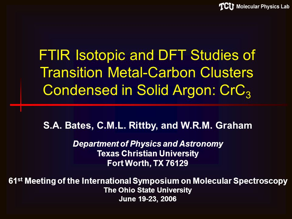 FTIR Isotopic and DFT Studies of Transition Metal-Carbon Clusters Condensed in Solid Argon: CrC 3 S.A.
