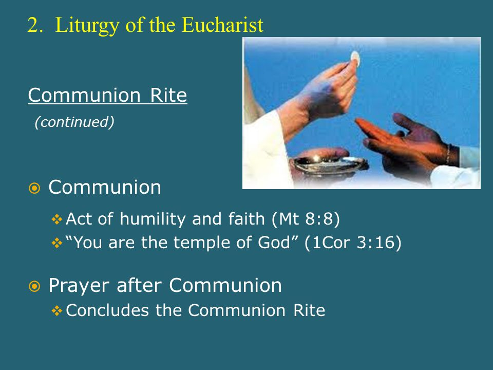 "2. Liturgy of the Eucharist Communion Rite (continued)  Communion  Act of humility and faith (Mt 8:8)  ""You are the temple of God"" (1Cor 3:16)  Pr"