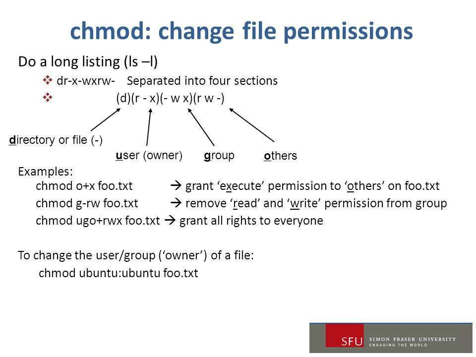 Do a long listing (ls –l)  dr-x-wxrw- Separated into four sections  (d)(r - x)(- w x)(r w -) Examples: chmod o+x foo.txt  grant 'execute' permissio