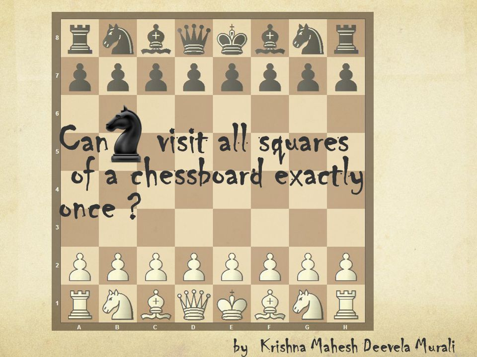 Can visit all squares of a chessboard exactly once ? by Krishna Mahesh Deevela Murali