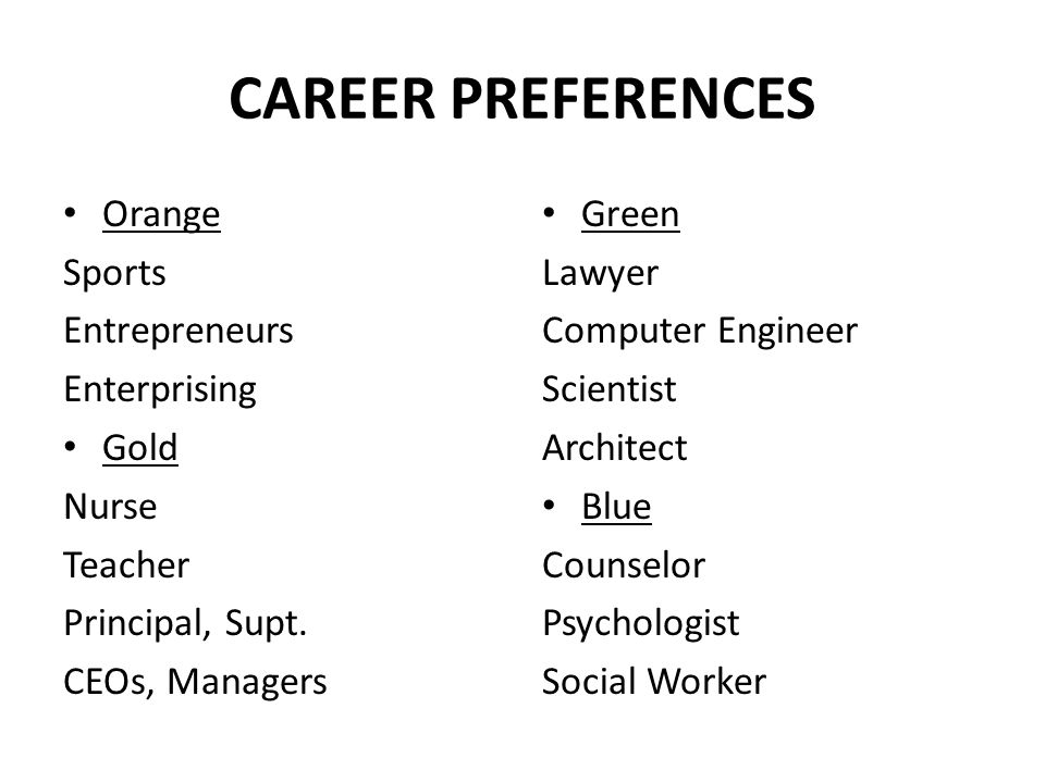 CAREER PREFERENCES Orange Sports Entrepreneurs Enterprising Gold Nurse Teacher Principal, Supt.