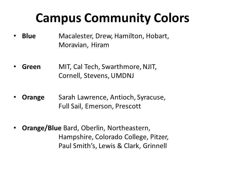Campus Community Colors BlueMacalester, Drew, Hamilton, Hobart, Moravian, Hiram Green MIT, Cal Tech, Swarthmore, NJIT, Cornell, Stevens, UMDNJ OrangeS