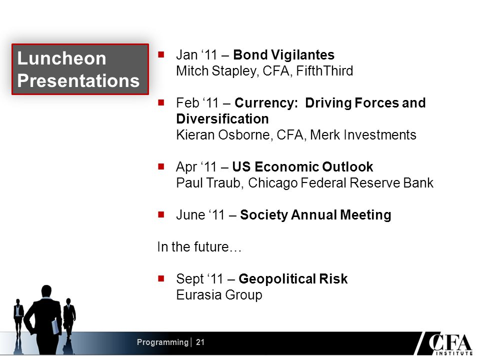 ■ Jan '11 – Bond Vigilantes Mitch Stapley, CFA, FifthThird ■ Feb '11 – Currency: Driving Forces and Diversification Kieran Osborne, CFA, Merk Investments ■ Apr '11 – US Economic Outlook Paul Traub, Chicago Federal Reserve Bank ■ June '11 – Society Annual Meeting In the future… ■ Sept '11 – Geopolitical Risk Eurasia Group Luncheon Presentations Programming│ 21