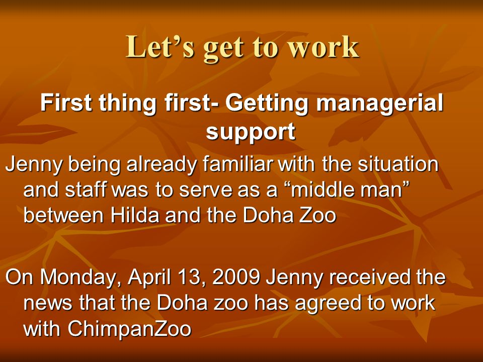 Let's get to work First thing first- Getting managerial support Jenny being already familiar with the situation and staff was to serve as a middle man between Hilda and the Doha Zoo On Monday, April 13, 2009 Jenny received the news that the Doha zoo has agreed to work with ChimpanZoo