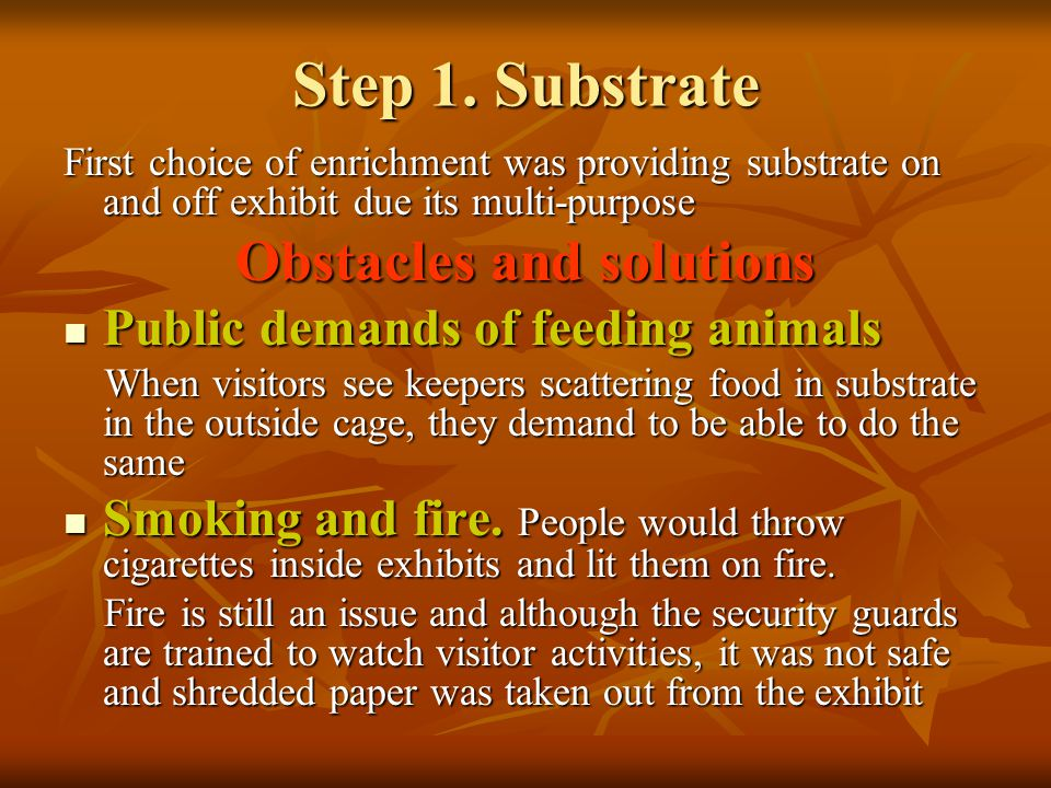 Step 1. Substrate First choice of enrichment was providing substrate on and off exhibit due its multi-purpose Obstacles and solutions Public demands o