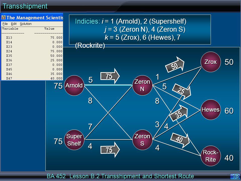 18 BA 452 Lesson B.2 Transshipment and Shortest Route ARNOLD WASH BURN ZROX HEWES 75 75 50 60 40 5 8 7 4 1 5 8 3 4 4 Arnold SuperShelf Hewes Zrox ZeronN ZeronS Rock-Rite 75 75 50 25 35 40 Indicies: i = 1 (Arnold), 2 (Supershelf) j = 3 (Zeron N), 4 (Zeron S) j = 3 (Zeron N), 4 (Zeron S) k = 5 (Zrox), 6 (Hewes), 7 (Rockrite) k = 5 (Zrox), 6 (Hewes), 7 (Rockrite)Transshipment