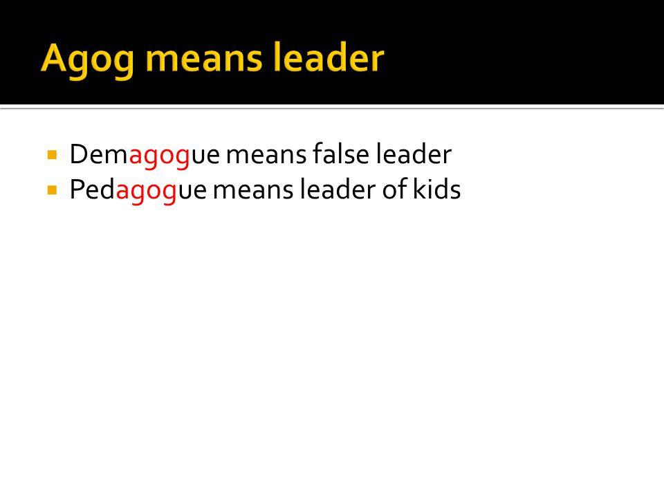  Demagogue means false leader  Pedagogue means leader of kids