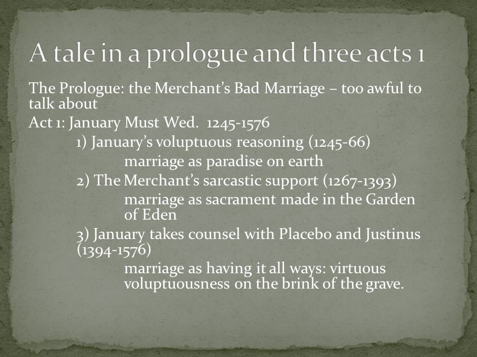 The Prologue: the Merchant's Bad Marriage – too awful to talk about Act 1: January Must Wed.