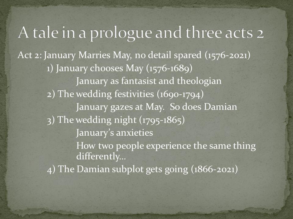 Act 2: January Marries May, no detail spared (1576-2021) 1) January chooses May (1576-1689) January as fantasist and theologian 2) The wedding festivities (1690-1794) January gazes at May.