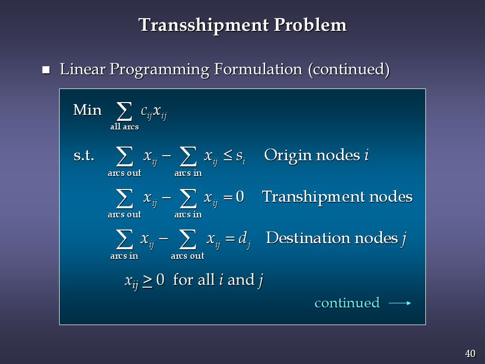40 Transshipment Problem x ij > 0 for all i and j n Linear Programming Formulation (continued) continued