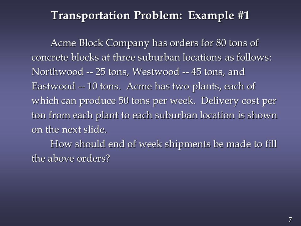 8 8 n Delivery Cost Per Ton Northwood Westwood Eastwood Northwood Westwood Eastwood Plant 1 24 30 40 Plant 1 24 30 40 Plant 2 30 40 42 Plant 2 30 40 42 Transportation Problem: Example #1 Decision Variables.