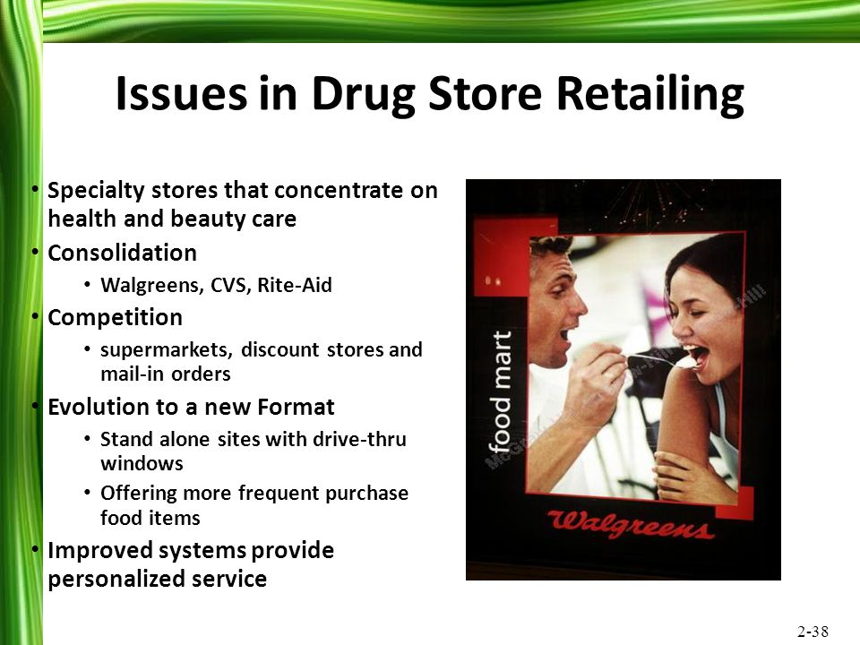 2-38 Issues in Drug Store Retailing Specialty stores that concentrate on health and beauty care Consolidation Walgreens, CVS, Rite-Aid Competition sup