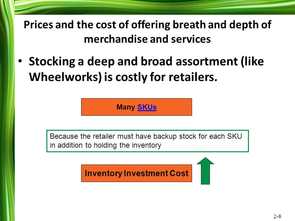 2-8 Prices and the cost of offering breath and depth of merchandise and services Stocking a deep and broad assortment (like Wheelworks) is costly for