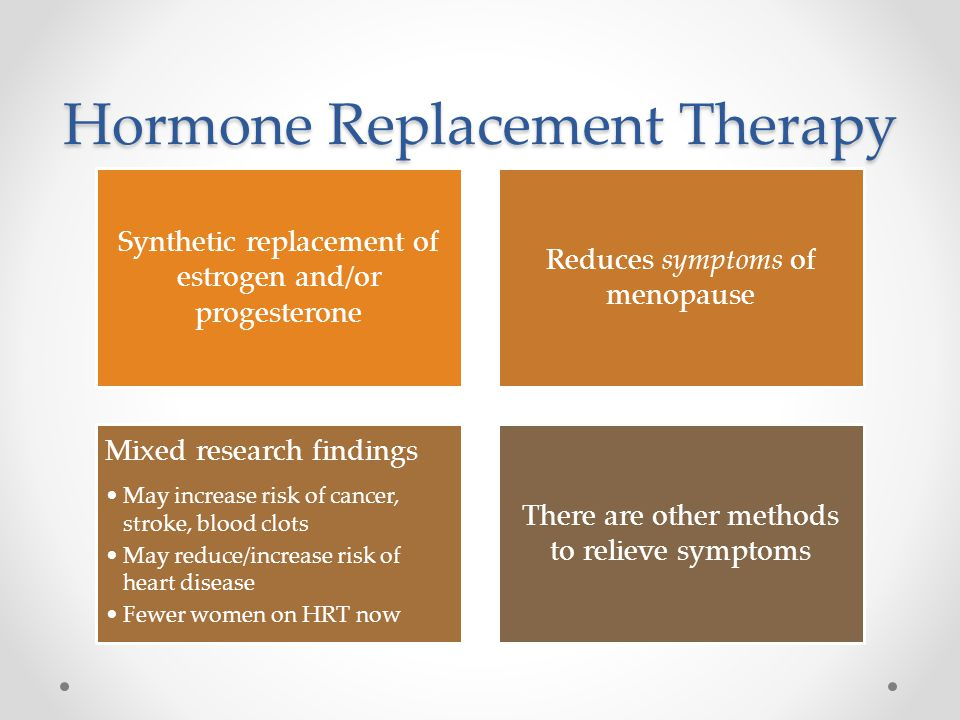 Hormone Replacement Therapy Synthetic replacement of estrogen and/or progesterone Reduces symptoms of menopause Mixed research findings May increase risk of cancer, stroke, blood clots May reduce/increase risk of heart disease Fewer women on HRT now There are other methods to relieve symptoms