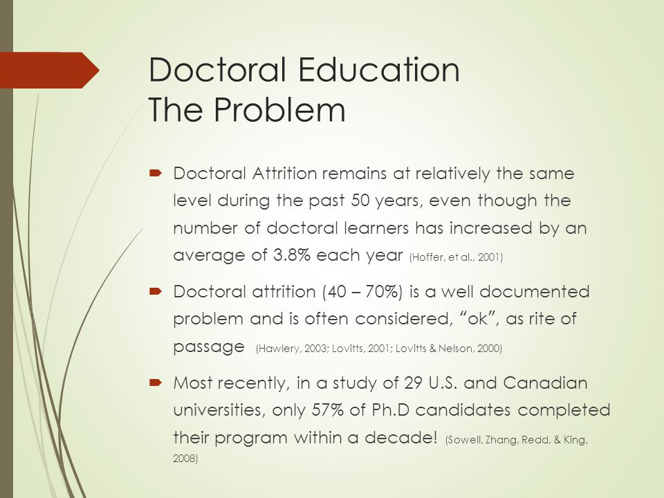 Doctoral Education The Problem  Doctoral Attrition remains at relatively the same level during the past 50 years, even though the number of doctoral learners has increased by an average of 3.8% each year (Hoffer, et al., 2001)  Doctoral attrition (40 – 70%) is a well documented problem and is often considered, ok , as rite of passage (Hawlery, 2003; Lovitts, 2001; Lovitts & Nelson, 2000)  Most recently, in a study of 29 U.S.