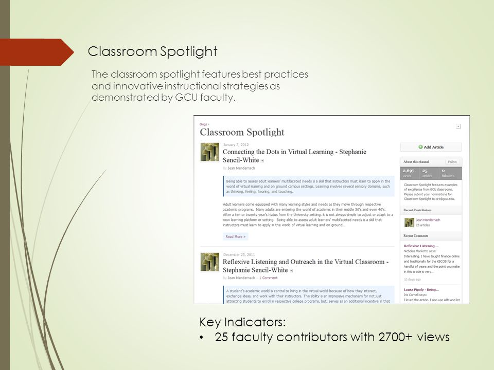 Classroom Spotlight The classroom spotlight features best practices and innovative instructional strategies as demonstrated by GCU faculty.