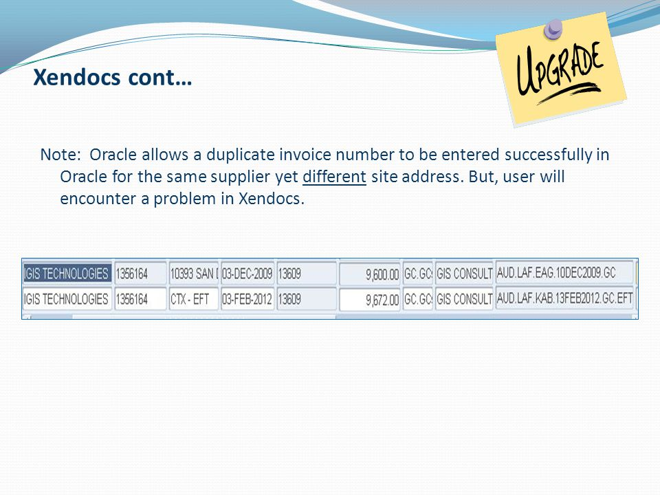 Note: Oracle allows a duplicate invoice number to be entered successfully in Oracle for the same supplier yet different site address. But, user will e