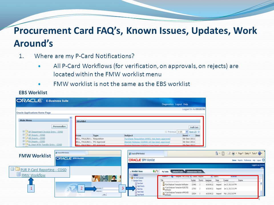 Procurement Card FAQ's, Known Issues, Updates, Work Around's 1. Where are my P-Card Notifications? All P-Card Workflows (for verification, on approval