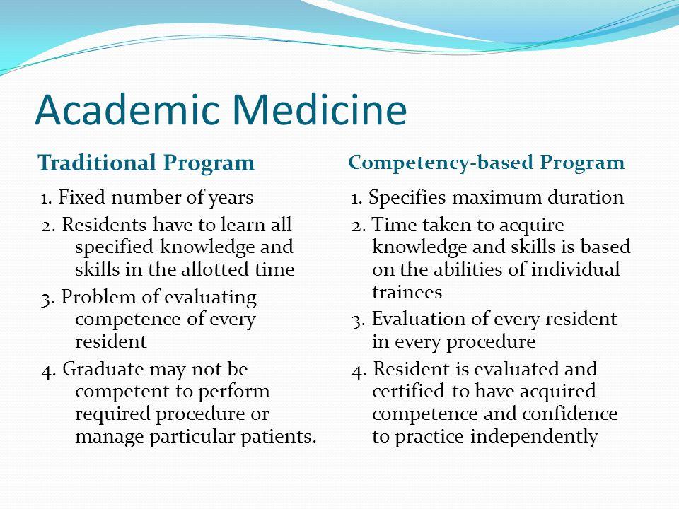 Academic Medicine Traditional Program Competency-based Program 1.