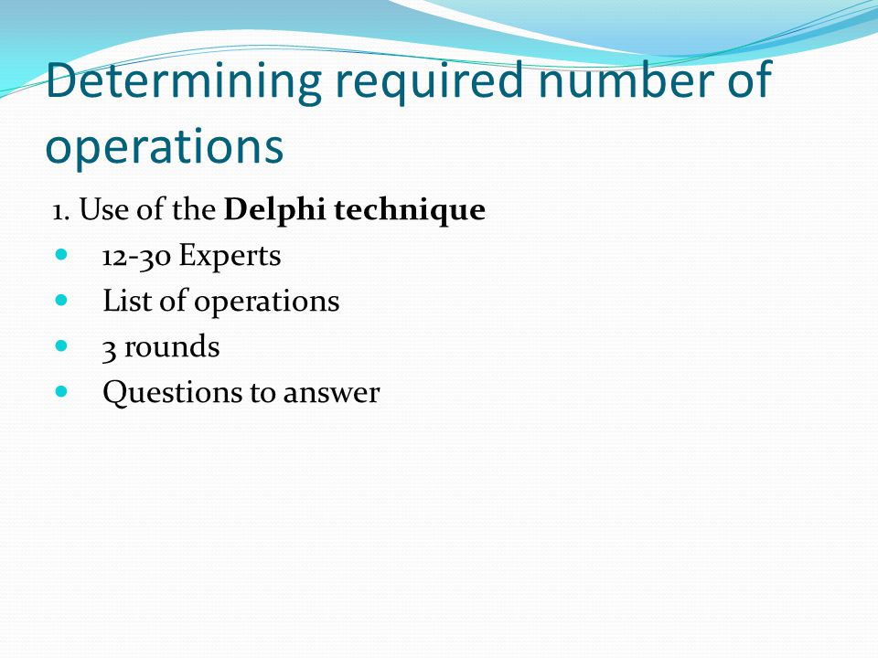 Determining required number of operations 1.