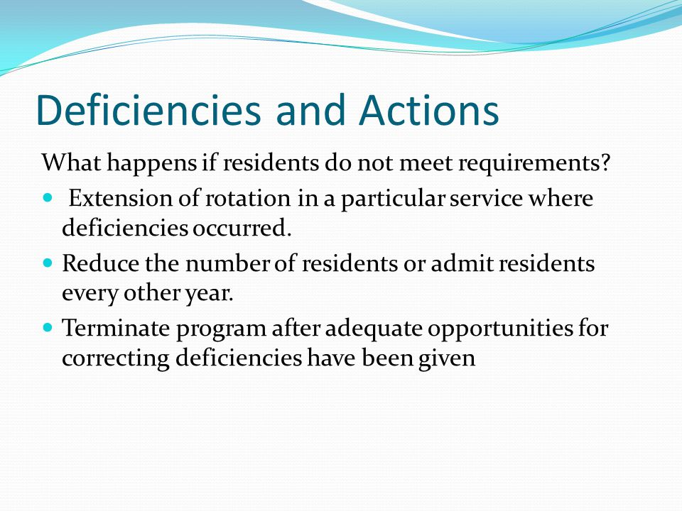 Deficiencies and Actions What happens if residents do not meet requirements.