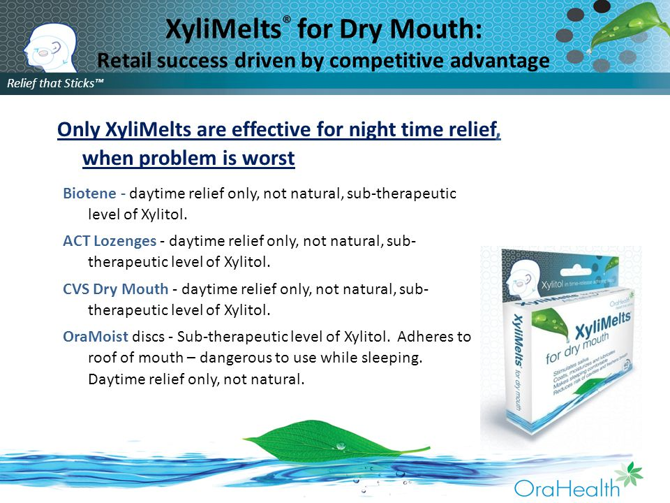 Relief that Sticks™ XyliMelts ® for Dry Mouth: Retail success driven by competitive advantage Biotene - daytime relief only, not natural, sub-therapeutic level of Xylitol.