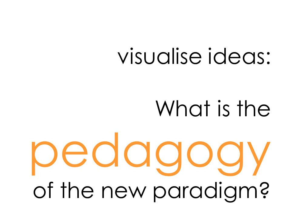 visualise ideas: What is the pedagogy of the new paradigm?